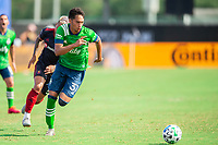 LAKE BUENA VISTA, FL - JULY 14: Shandon Hopeau #37 of the Seattle Sounders dribbles the ball during a game between Seattle Sounders FC and Chicago Fire at Wide World of Sports on July 14, 2020 in Lake Buena Vista, Florida.