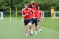 The Welsh players warming up during the Wales Open Training Session on Wednesday 1st June 2016 at the Vale Resort, in the Vale of Glamorgan. <br /> <br /> <br /> Jeff Thomas Photography -  www.jaypics.photoshelter.com - <br /> e-mail swansea1001@hotmail.co.uk -<br /> Mob: 07837 386244 -