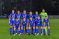 team picture KAA Gent ( Silke Vanwynsberghe (21) , Nia Elyn (4) , Lobke Loonen (19) , Lore Jacobs (17) , Rania Boutiebi (27) , goalkeeper Nicky Evrard (1) and Rkia Mazrouai (2) , Lyndsey Van Belle (14) , Emma Van Britsom (6) , Bodil Van Den Heuvel (22) , Chloe Vande Velde (10) ) pictured before a female soccer game between AA Gent Ladies and SV Zulte-Waregem on the fifth matchday in the 2021 - 2022 season of Belgian Scooore Womens Super League , friday 1 October 2021  in Oostakker , Belgium . PHOTO SPORTPIX | STIJN AUDOOREN