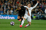 Kyle Walker of Manchester City and Real Madrid CF's Luka Modric competes for the ball during UEFA Champions League match, round of 16 first leg between Real Madrid and Manchester City at Santiago Bernabeu Stadium in Madrid, Spain. February Wednesday 26, 2020.(ALTERPHOTOS/Manu R.B.)