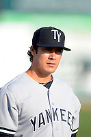 Tampa Yankees catcher Hector Rabago #22 before a game against the Dunedin Blue Jays on April 11, 2013 at Florida Auto Exchange Stadium in Dunedin, Florida.  Dunedin defeated Tampa 3-2 in 11 innings.  (Mike Janes/Four Seam Images)