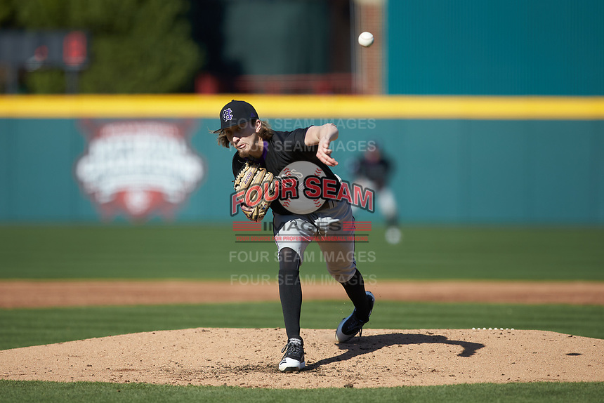 Holy Cross Crusaders starting pitcher Luke Dawson (5) delivers a pitch to the plate against the South Carolina Gamecocks at Founders Park on February 15, 2020 in Columbia, South Carolina. The Gamecocks defeated the Crusaders 9-4.  (Brian Westerholt/Four Seam Images)