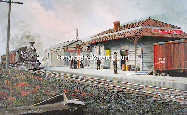 """PRR passenger train with steam locomotive pulling into the South Fork, PA, Pennyslvania Railroad station circa 1900. Oil on canvas, 15"""" x 24""""."""