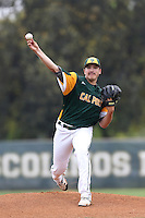 Cody Ponce (37) of the Cal Poly Pomona Broncos pitches against the Chico State Wildcats during a game at Cal Poly Pomona on March 22, 2015 in Pomona, California. Cal Poly defeated Chico State 7-3.(Larry Goren/Four Seam Images)