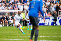 Andre Ayew of Swansea City  fires a shot into goal during the Pre Season friendly match between Swansea City and Rovers played at the Memorial Stadium, Bristol on July 23rd 2016