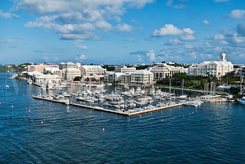 Boats docked in marina, Hamilton, Bermuda