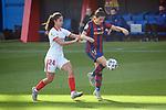 Liga IBERDROLA 2020-2021. Jornada: 12<br /> FC Barcelona vs Sevilla: 6-0.<br /> Ana Franco de la Vega vs Andrea Pereira.