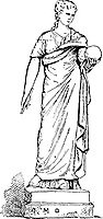 Statue of Urania, Muse of Astronomy, at the Vatican Museum, in Vatican City, vintage engraved illustration. Dictionary of Words and Things - Larive and Fleury - 1895