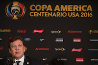 New York, NY - Friday June 24, 2016: CONMEBOL president Alejandro Dominguez during a press conference prior to the final of the Copa America Centenario at The Westin New York at Times Square.<br /> <br /> Photo during American Cup USA 2016 Press Conference The Westin New York at Times Square. --- Foto durante la Conferencia de Prensa previo a la Gran Final de la Copa America Centenario USA 2016, enla foto: Alejandro Dominguez, Presidente CONMEBOL<br /> <br /> ---24/06/2016/MEXSPORT/ Omar Martinez.