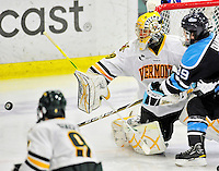 30 October 2010: University of Vermont Catamount goaltender Rob Madore, a Junior from  Pittsburgh, PA, in action against the University of Maine Black Bears at Gutterson Fieldhouse in Burlington, Vermont. The Black Bears defeated the Catamounts 3-2 in sudden death overtime. Mandatory Credit: Ed Wolfstein Photo
