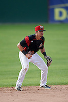 Batavia Muckdogs shortstop J.J. Gould (49) during a game against the Hudson Valley Renegades on July 31, 2016 at Dwyer Stadium in Batavia, New York.  Hudson Valley defeated Batavia 4-1. (Mike Janes/Four Seam Images)