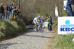 Reto Hollenstein (SUI) Team Netapp struggles to climb up Koppenberg during the 96th edition of The Tour of Flanders 2012, running 256.9km from Bruges to Oudenaarde, Belgium. 1st April 2012. <br /> (Photo by Eoin Clarke/NEWSFILE).