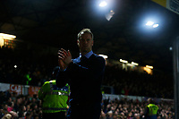 Newport County manager Michael Flynn applauds the fans as he leaves the pitch after the final whistle of the Fly Emirates FA Cup Fourth Round match between Newport County and Tottenham Hotspur at Rodney Parade, Newport, Wales, UK. Saturday 27 January 2018