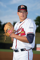 Danville Braves pitcher Evertz Orozco (30) poses for a photo prior to the game against the Pulaski Yankees at American Legion Post 325 Field on August 1, 2016 in Danville, Virginia.  The Yankees defeated the Braves 4-1.  (Brian Westerholt/Four Seam Images)