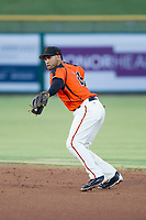 AZL Giants second baseman Jose Rivero (26) prepares to make a throw to first base against the AZL Padres 2 on July 13, 2017 at Scottsdale Stadium in Scottsdale, Arizona. AZL Giants defeated the AZL Padres 2 11-3. (Zachary Lucy/Four Seam Images)