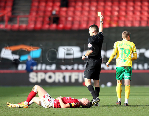 31st October 2020; Ashton Gate Stadium, Bristol, England; English Football League Championship Football, Bristol City versus Norwich; Jacob Lungi Sørensen of Norwich City is shown a yellow card for a bad foul