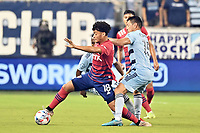 KANSAS CITY, KS - JULY 31: Brandon Servania #18 FC Dallas with the ball during a game between FC Dallas and Sporting Kansas City at Children's Mercy Park on July 31, 2021 in Kansas City, Kansas.