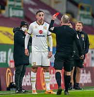 9th January 2021; Turf Moor, Burnley, Lanchashire, England; English FA Cup Football, Burnley versus Milton Keynes Dons; Richard Keogh of MK Dons has a red card overturned after VAR was checked just before half time