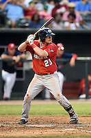 Oklahoma City RedHawks third baseman Jonathan Meyer (23) at bat during a game against the Memphis Redbirds on May 23, 2014 at AutoZone Park in Memphis, Tennessee.  Oklahoma City defeated Memphis 12-10.  (Mike Janes/Four Seam Images)