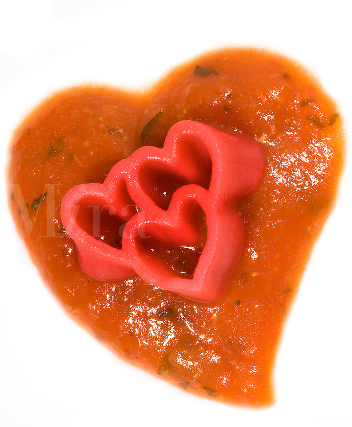 Tripple Red Pasta Hearts on Tomato Sauce