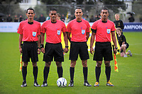 The match officials for the Oceania Football Championship semifinal (second leg) football match between Team Wellington and AS Magenta at David Farrington Park in Wellington, New Zealand on Sunday, 16 April 2017. Photo: Dave Lintott / lintottphoto.co.nz