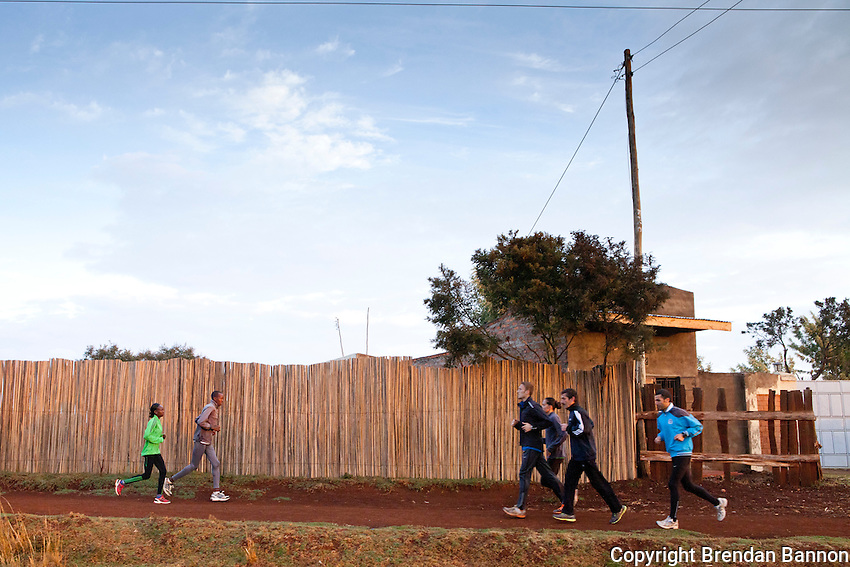 Mary Keitany, who is preparing to defend her 2011 London Marathon title, is one of a small band of Kenya's elite marathon runners, training in the countryside around Iten, the high-altitude town in western Kenya that has become the centre of long-distance running for hundreds of amateur and professional athletes. Keitany is running with her pace-setter Justus Kipkogei.