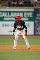 Chattanooga Lookouts Taylor Trammell (7) leads off second base during a Southern League game against the Birmingham Barons on May 1, 2019 at Regions Field in Birmingham, Alabama.  Chattanooga defeated Birmingham 5-0.  (Mike Janes/Four Seam Images)