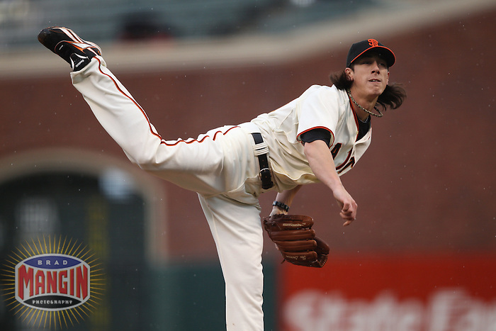 SAN FRANCISCO - APRIL 11:  Tim Lincecum of the San Francisco Giants pitches during the game between the Atlanta Braves and the San Francisco Giants on Sunday, April 11, 2010, at AT&T Park in San Francisco, California. The Giants defeated the Braves 6-3.  (Photo by Brad Mangin)