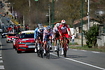 The breakaway featuring Oliver Naesen (BEL) AG2R Citroen,   Anthony Perez (FRA) Cofidis, Julian Bernard (FRA) Trek-Segafredo, José Joaquín Rojas (ESP) Movistar Team, Oscar Riesebeek (NED) Alpecin-Fenix and Polka Dot Jersey Fabien Doubey (FRA) Total Direct Energie during Stage 4 of Paris-Nice 2021, running 187.5km from Chalon-sur-Saone to Chiroubles, France. 10th March 2021.<br /> Picture: ASO/Fabien Boukla | Cyclefile<br /> <br /> All photos usage must carry mandatory copyright credit (© Cyclefile | ASO/Fabien Boukla)