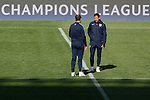 Atletico's coach Diego Simeone during a training session the day before quarterfinal first leg Champions League soccer match against Real Madrid at Vicente Calderon stadium in Madrid, Spain. April 13, 2015. (ALTERPHOTOS/Victor Blanco)