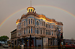 Port Townsend, a rainbow over the Hastings Building, Water Street, 1889, Victorian architecture, Olympic Peninsula, Washington State, Pacific Northwest, Port Townsend Historic District,