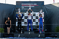 Race 2, Platinum Masters Podium, #99 Kelly-Moss/AM Motorsports, Porsche 991 / 2019, GT3P: Alan Metni (M), #20 Wright Motorsports, Porsche 991 / 2019, GT3P: Fred Poordad (M), #63 Moorespeed, Porsche 991 / 2018, GT3P: Chris Bellomo