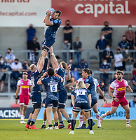 4th June 2021; AJ Bell Stadium, Salford, Lancashire, England; English Premiership Rugby, Sale Sharks versus Harlequins; Josh Beaumont of Sale Sharks wins a lineout