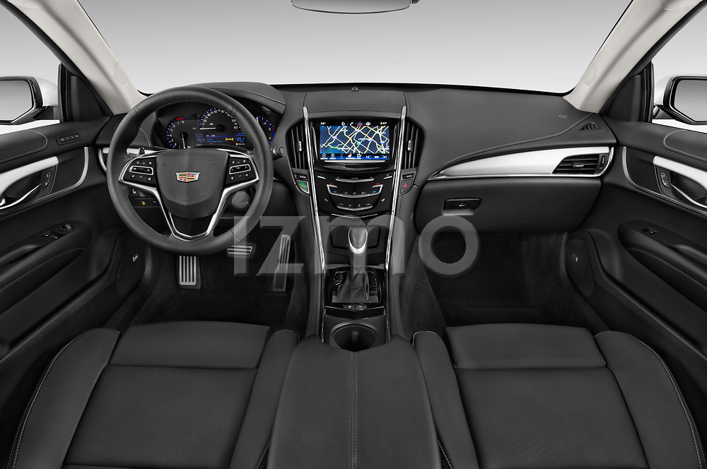 Stock photo of straight dashboard view of a 2019 Cadillac ATS Coupe Premium Performance 2 Door Coupe