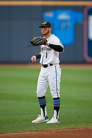 Akron RubberDucks Alexis Pantoja (1) during warmups before an Eastern League game against the Reading Fightin Phils on June 4, 2019 at Canal Park in Akron, Ohio.  Akron defeated Reading 8-5.  (Mike Janes/Four Seam Images)