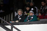 Chorley 2 Altrincham 0, 21/01/2017. Victory Park, National League North. Two elderly women home supporters in the main stand waiting for the players to come on to the pitch at Victory Park, before Chorley played Altrincham in a Vanarama National League North fixture. Chorley were founded in 1883 and moved into their present ground in 1920. The match was won by the home team by 2-0, watched by an above-average attendance of 1127. Photo by Colin McPherson.