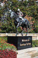 Welcome horse and jockey sculpture in Congress Park, Saratoga Springs, New York, USA