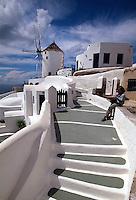 Griechenland, Insel Santorin (Santorini), Windmühle in Oia