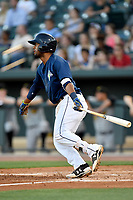 Second baseman Luis Carpio (18) of the Columbia Fireflies bats in a game against  the West Virginia Power on Thursday, May 18, 2017, at Spirit Communications Park in Columbia, South Carolina. Columbia won in 10 innings, 3-2. (Tom Priddy/Four Seam Images)