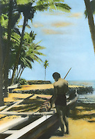 Handtinted image of Hawaiian man near outrigger canoe at Puuhonua honaunau, known also as City of refuge.