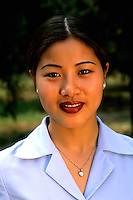 Colorful portrait of beautiful modern Chinese woman in Beijing China.