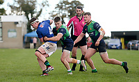 Saturday 10th October 2020 | Ballynahinch vs Queens<br /> <br /> David Whitten is tackled by Chris Gibson during the Energia Community Series clash between Ballynahinch and Queens at Ballymacarn Park, Ballynahinch, County Down, Northern Ireland. Photo by John Dickson / Dicksondigital