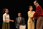 Actress Sandra Galeano, (L-R), Raul Breton, Liliana Guido and Sergio Lopez perform the play An Enemy of the People by Henrik Ibsen at the Teatto El Galeon, July 28, 2008.  The play is directed by Raquel Seoane. The theater company Contigo... America started its work on 1981 in Mexico. Photo by Heriberto Rodriguez