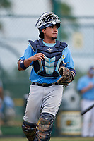 Tampa Bay Rays catcher David Rodriguez (48) during an Instructional League game against the Pittsburgh Pirates on October 3, 2017 at Pirate City in Bradenton, Florida.  (Mike Janes/Four Seam Images)