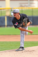 Lansing Lugnuts pitcher Kyle Weatherly (28) delivers a pitch during a Midwest League game against the Clinton LumberKings on July 15, 2018 at Ashford University Field in Clinton, Iowa. Clinton defeated Lansing 6-2. (Brad Krause/Four Seam Images)