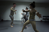 "Switzerland. Canton Ticino. Ascona. Fondazione Majid. MOPS_DanceSyndrome is an independent Swiss artistic, cultural and social organisation operating in the field of contemporary dance and disability. It is composed only of Down dancers. (Left to right) Simone Lunardi, Gaia Mereu, Amedea Aloisi and Elisabetta Montobbio on stage during ""Choreus Numinis"" show. Down syndrome (DS or DNS), also known as trisomy 21, is a genetic disorder caused by the presence of all or part of a third copy of chromosome 21 It is usually associated with physical growth delays, mild to moderate intellectual disability, and characteristic facial features.13.02.2020 © 2020 Didier Ruef"
