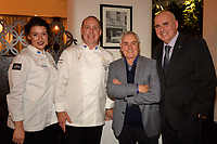 Melbourne, June 26, 2018 - Laura Skvor, Michael Cole, Ted Bones from Clover Valley Fine Foods and Tom Milligan pose for a photograph at a celebration event for Bocuse d'Or Australia team and their sponsors and supporters at Philippe Restaurant in Melbourne, Australia. Photo Sydney Low.
