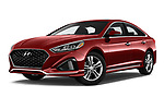 Stock pictures of low aggressive front three quarter view of a 2018 Hyundai Sonata Sport 4 Door Sedan