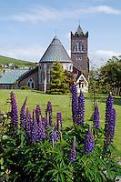 St. Mary's Church and flower gardens, Dingle (An Daingean), Dingle Peninsula, County Kerry, Republic of Ireland