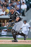 Chicago White Sox catcher Tyler Flowers (21) on defense against the Charlotte Knights at BB&T Ballpark on April 3, 2015 in Charlotte, North Carolina.  The Knights defeated the White Sox 10-2.  (Brian Westerholt/Four Seam Images)